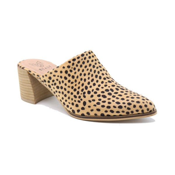 Pointy Toe Slip on Heeled Mules Dot Leopard