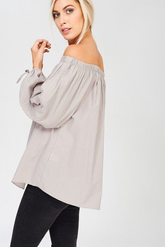 Buy Off The Shoulder Long Sleeve Top Grey online at Southern Fashion Boutique Bliss