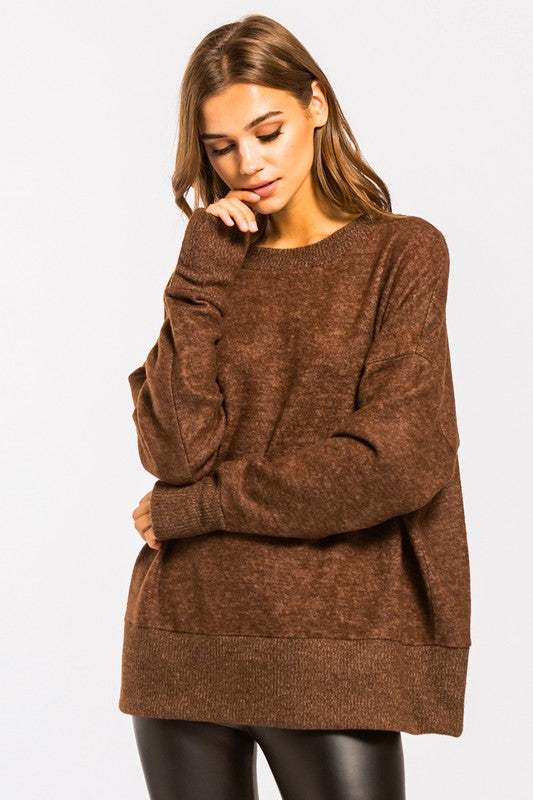 Brushed Knit Long Sleeve Pullover Top Brown