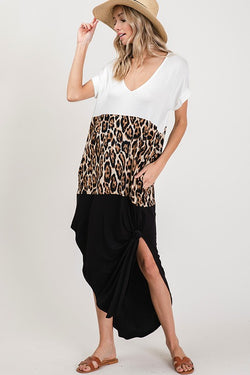 Buy Color block V-Neck Maxi Dress Leopard online at Southern Fashion Boutique Bliss