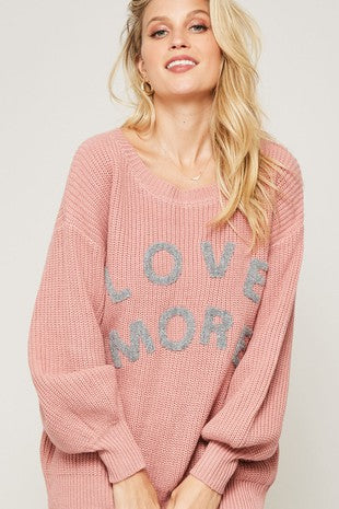 Love More Chenille Letters Graphic Sweater