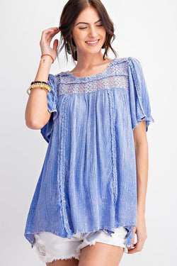 Mineral Washed Out Tunic Top Faded Blue