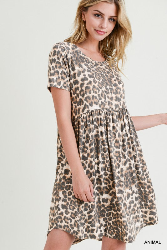 Leopard Print Short Sleeve Baby Doll Dress