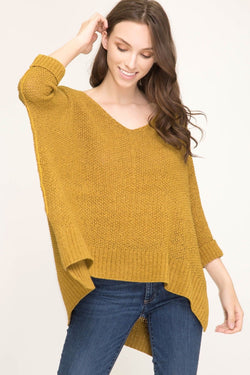Buy Hi-Lo Sweater Top 3/4 Sleeves Folded Cuffs Mustard online at Southern Fashion Boutique Bliss