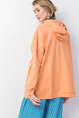 Buy Keyhole Front Knit Hoodie Terry Knit Top Apricot online at Southern Fashion Boutique Bliss