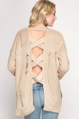 Buy Distressed Sweater Open Back Straps Taupe online at Southern Fashion Boutique Bliss