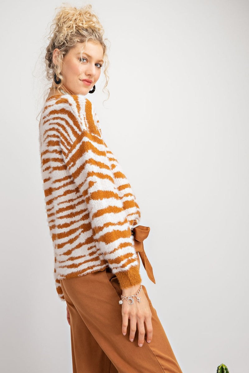 Buy Zebra Pattern Mohair Knit Sweater Caramel online at Southern Fashion Boutique Bliss