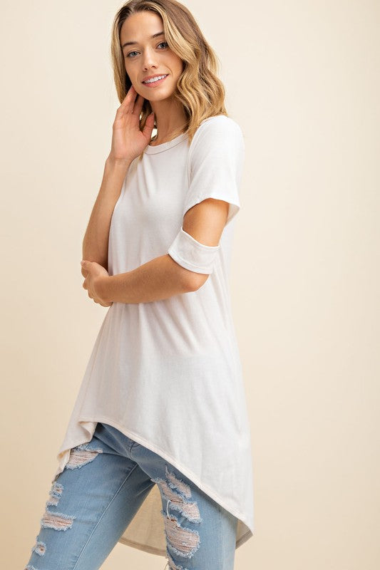 Buy Jersey Cut Out Sleeve Hi-Low Top Dove online at Southern Fashion Boutique Bliss