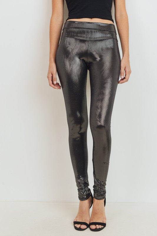 Metallic Shiny High Waist Leggings Black