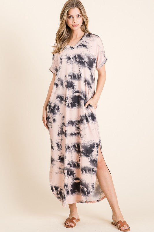 V-Neck Tie-Dye Soft Knit Maxi Dress Pink