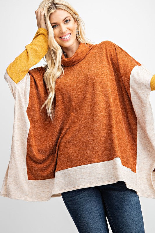 Buy Poncho Style Turtle Neck Sweater Top Rust online at Southern Fashion Boutique Bliss