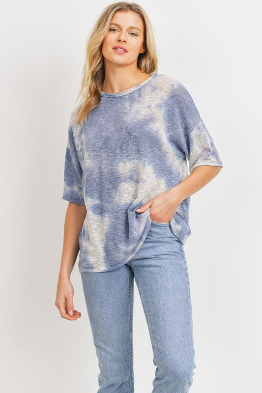 Tie Dye Open Back Slub Knit Top Denim
