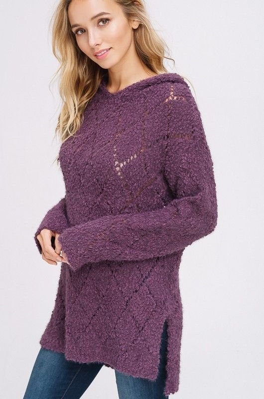 Buy Popcorn Soft Fur Pullover Hoodie Sweater Plum online at Southern Fashion Boutique Bliss