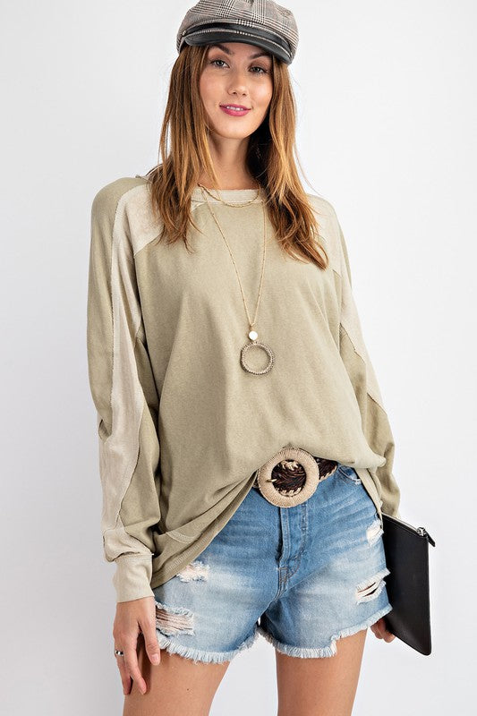 Tone n Tone Contrast Top Faded Sage