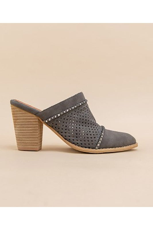 Closed Toe Wedge Heel Mule Grey