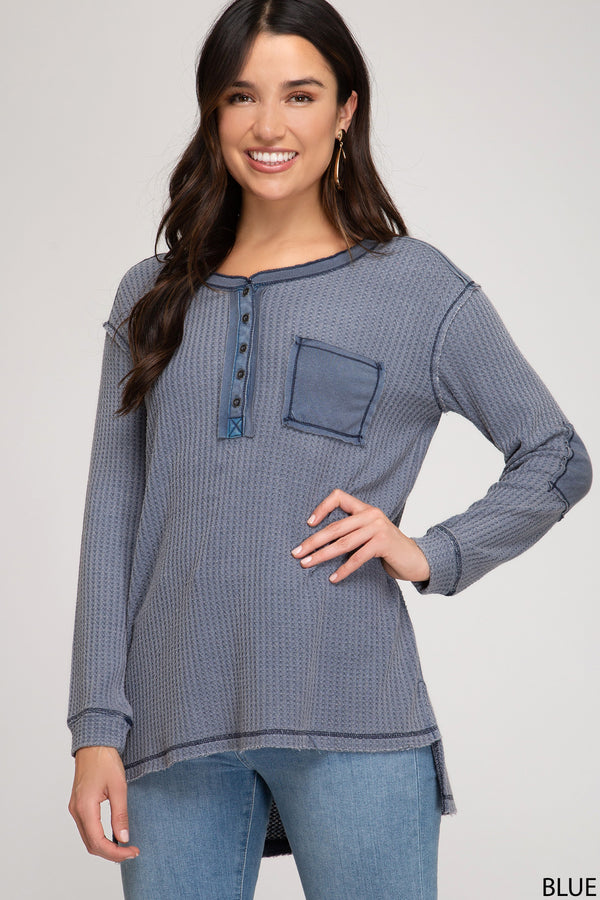 Button Down Stone Washed Top Navy