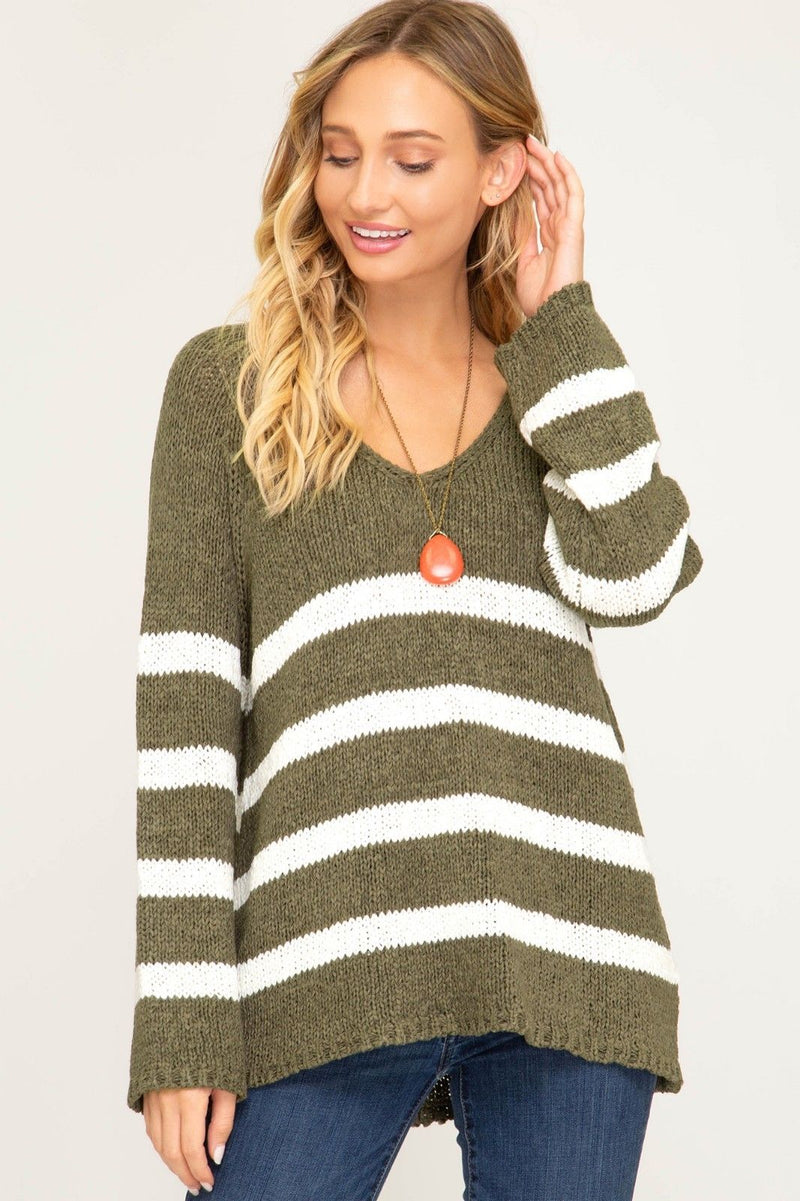 Buy Long Sleeve Striped V-Neck Knit Sweater Olive online at Southern Fashion Boutique Bliss