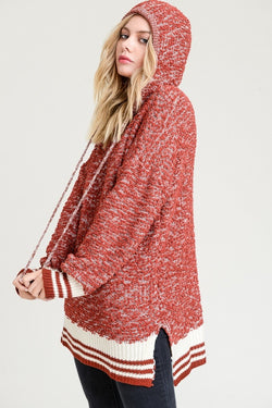 Buy Popcorn Hoodie Sweater with Contrast Striped Hems Rust online at Southern Fashion Boutique Bliss