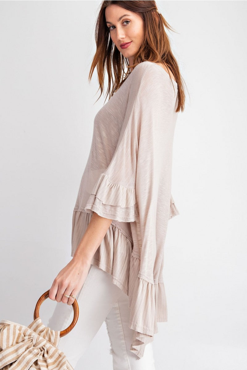Buy Ruffle Sleeve Scoop Neck Loose Fit Tunic Top Khaki online at Southern Fashion Boutique Bliss