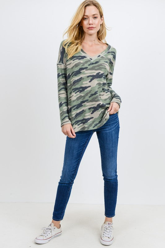 Buy Brushed Camo Thermal Open Back Top Green online at Southern Fashion Boutique Bliss