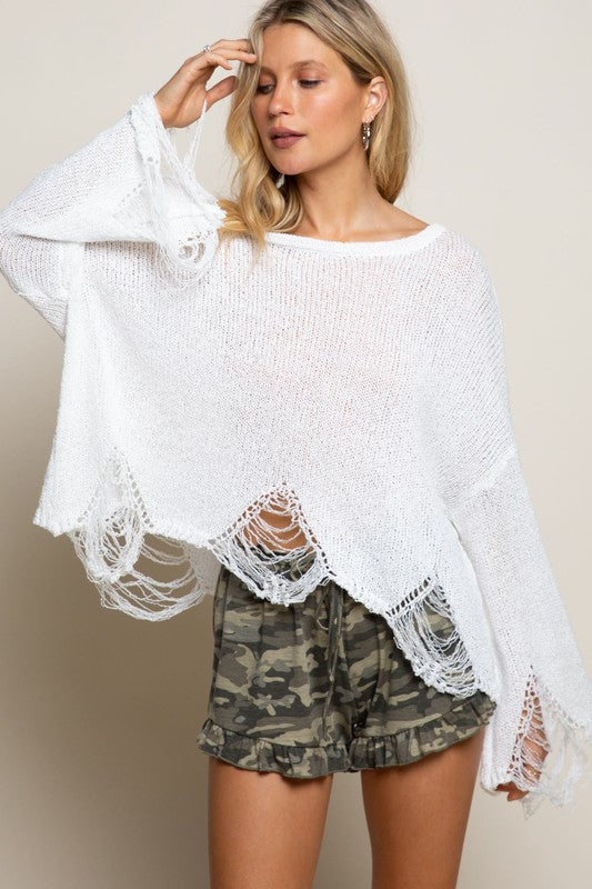 Round Neck Distressed Sweater White