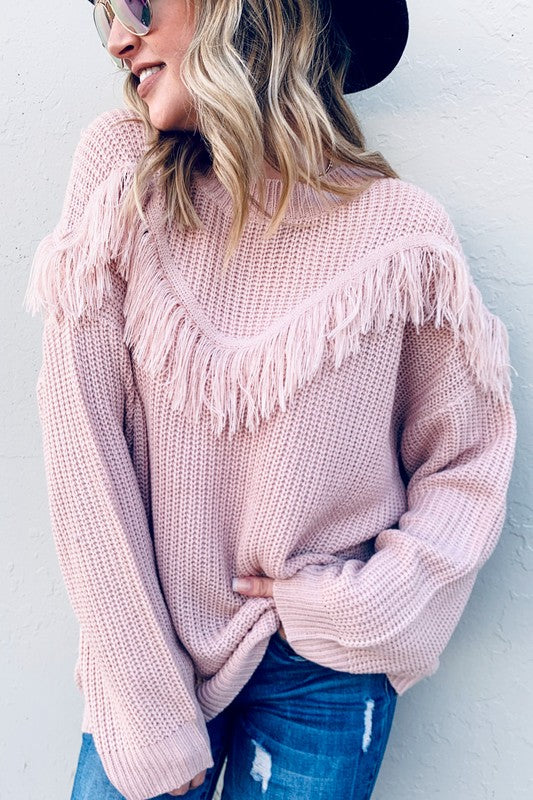 Fringe Detail Pullover Sweater Pink