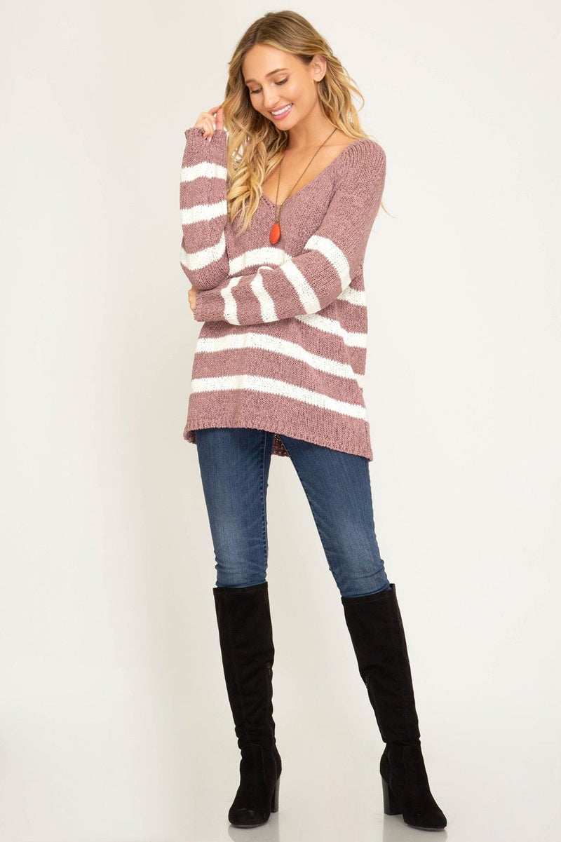Buy Long Sleeve Striped V-Neck Knit Sweater Rose online at Southern Fashion Boutique Bliss