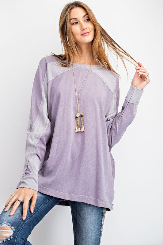 Tone n Tone Contrast Top Dusty Lilac