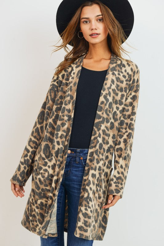 Brushed Leopard Pocket Cardigan Brown