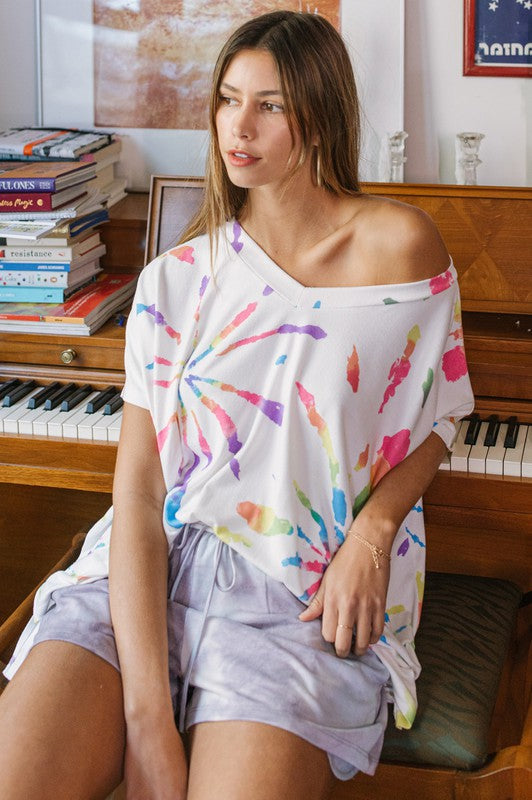 Firecracker Tie-dye Printed Tunic Top White