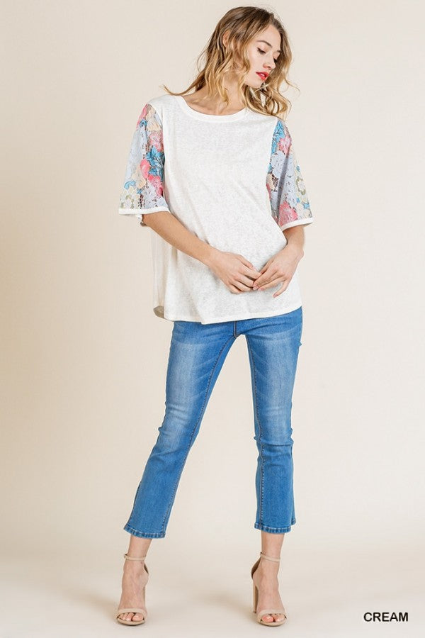 Buy Floral Lace Sleeve Knit Top Cream online at Southern Fashion Boutique Bliss