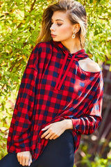 Buy Kangaroo Pocket Tartan Hoodie Top Red online at Southern Fashion Boutique Bliss