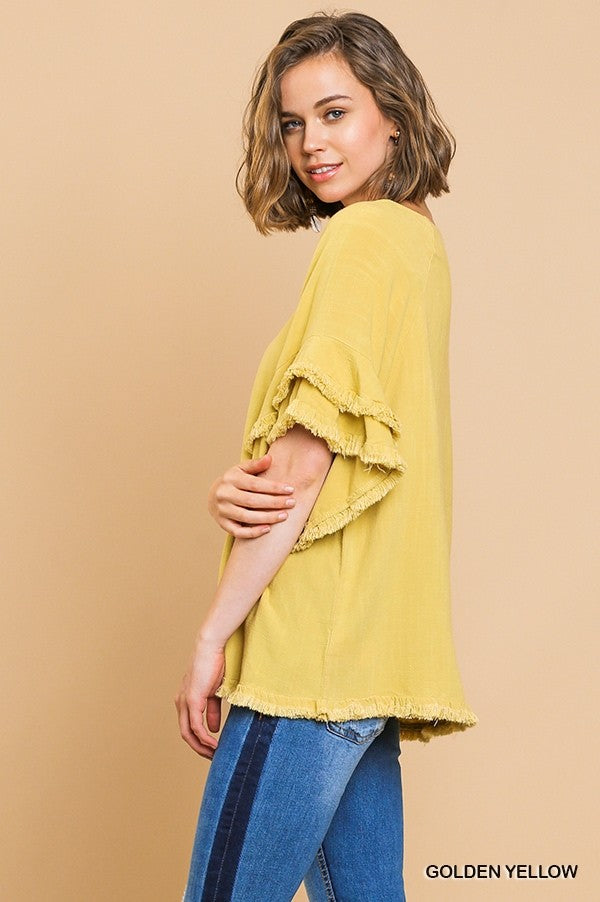 Ruffle Sleeve Round Neck Top Yellow