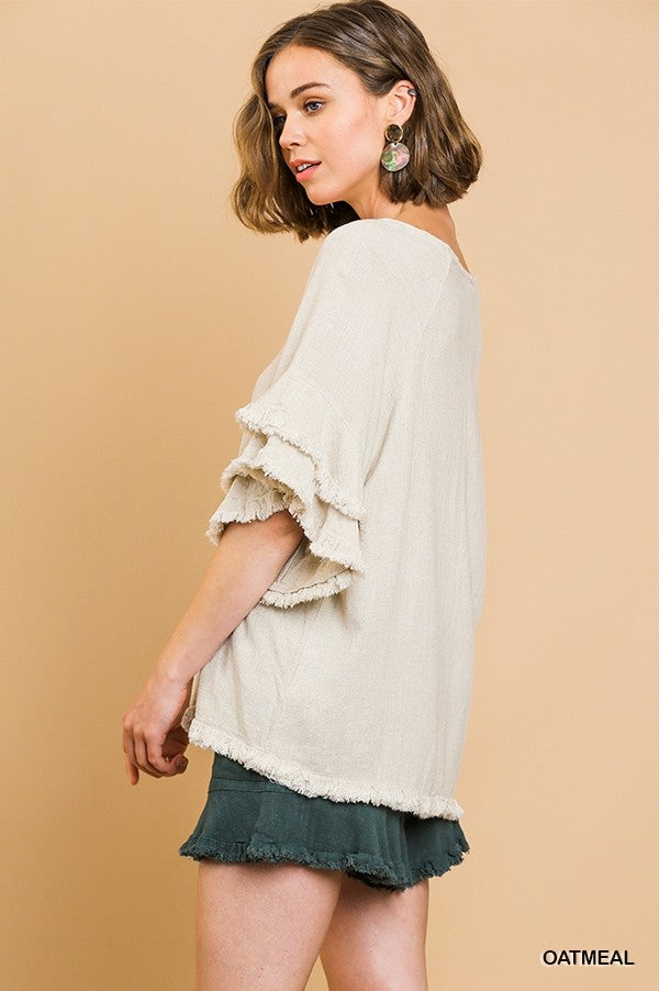 Ruffle Sleeve Round Neck Top Oatmeal