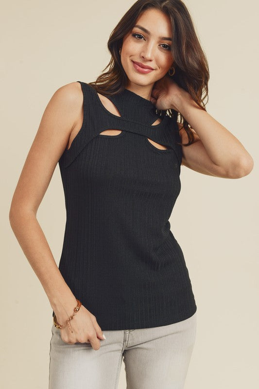 Scoop Neck Cutout Sleeveless Top Black