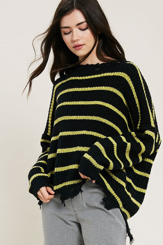 Buy Striped Ribbed Knit Distressed Hem Sweater Black online at Southern Fashion Boutique Bliss