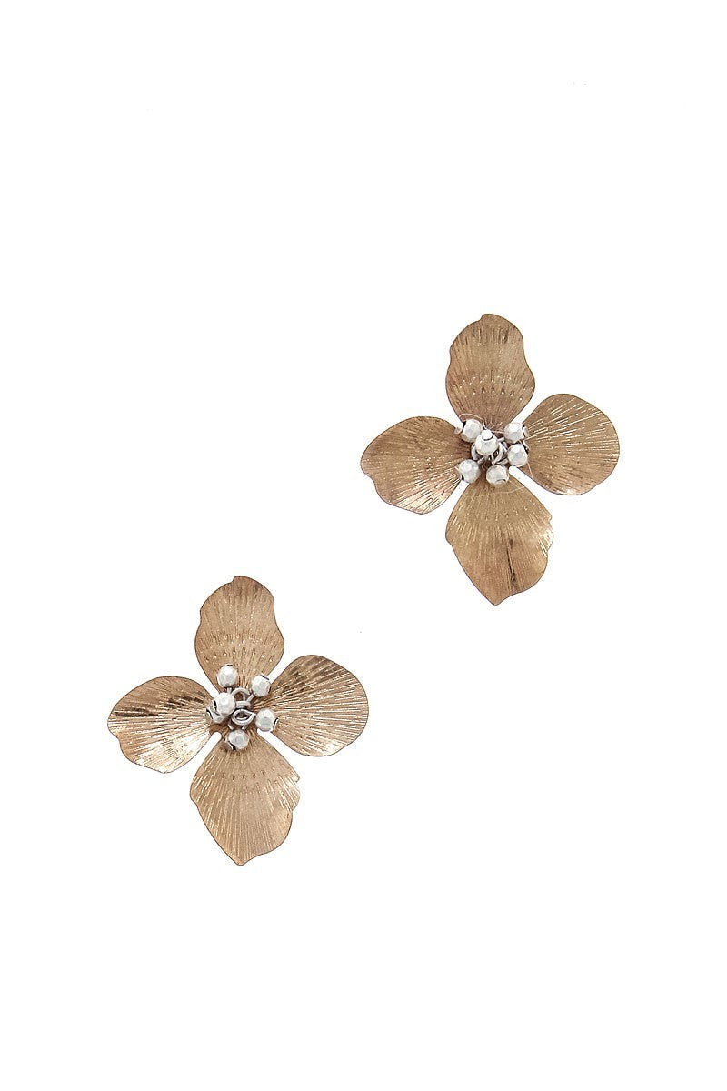 Buy Modern Flower Fashion Earrings Gold online at Southern Fashion Boutique Bliss
