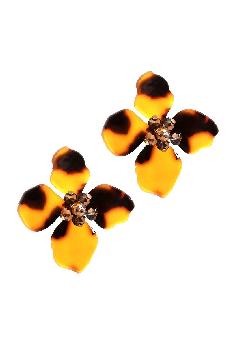 Buy Glass Bead Acrylic Flower Post Earrings Brown online at Southern Fashion Boutique Bliss