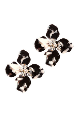 Buy Glass Bead Acrylic Flower Post Earrings Black online at Southern Fashion Boutique Bliss
