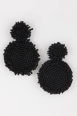 Buy Beaded Cluster Spiral Earrings Black online at Southern Fashion Boutique Bliss