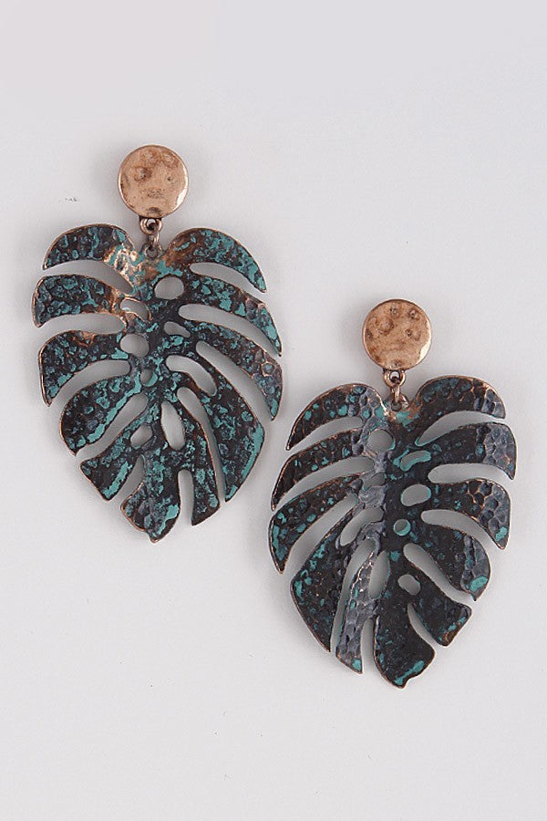 Buy Metal Leaf Earrings Turquoise online at Southern Fashion Boutique Bliss