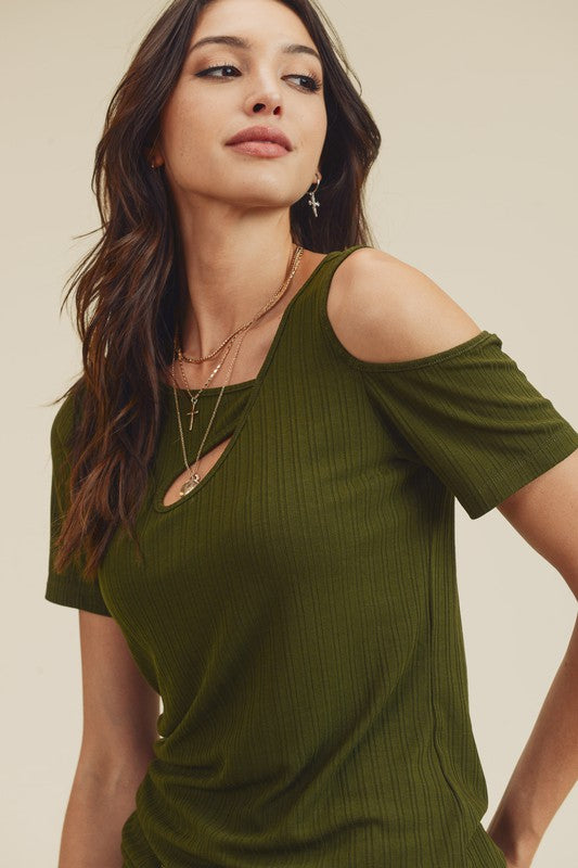Asymmetric Cut Out Top Olive
