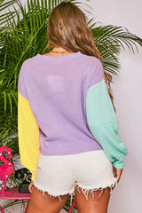Buy Color Block Cropped Sweater Lavender/Pink online at Southern Fashion Boutique Bliss
