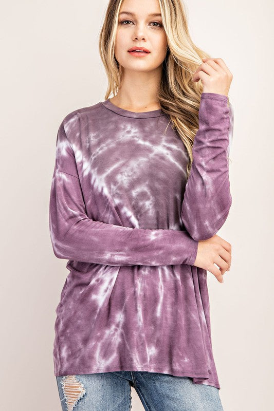 Buy Jersey Tie Dye Tunic Top Slate/Purple online at Southern Fashion Boutique Bliss