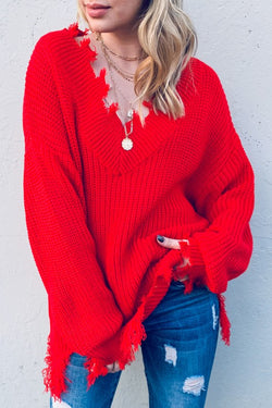 Buy Distressed Pullover Solid Sweater Red online at Southern Fashion Boutique Bliss