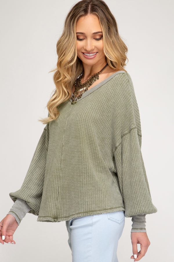 Bubble Sleeve Waffle Knit Top Olive