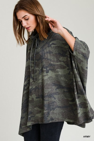 Buy Ribbed Camo Top Drawstring Cowl Neck w/Half Sleeves Army online at Southern Fashion Boutique Bliss