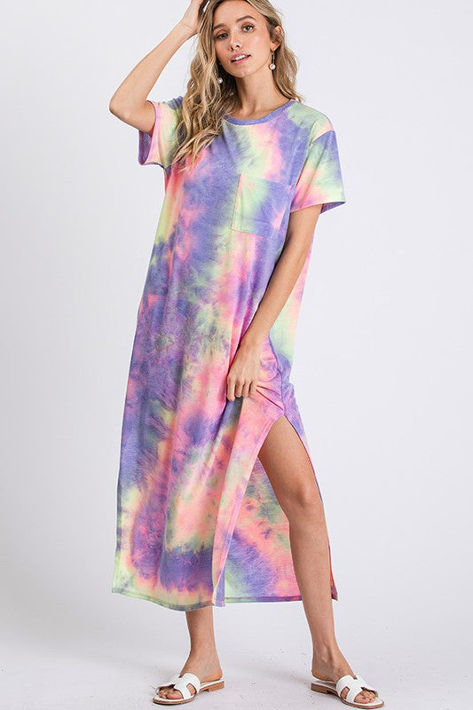 Tie Dye Maxi Dress with Pocket Purple Multi