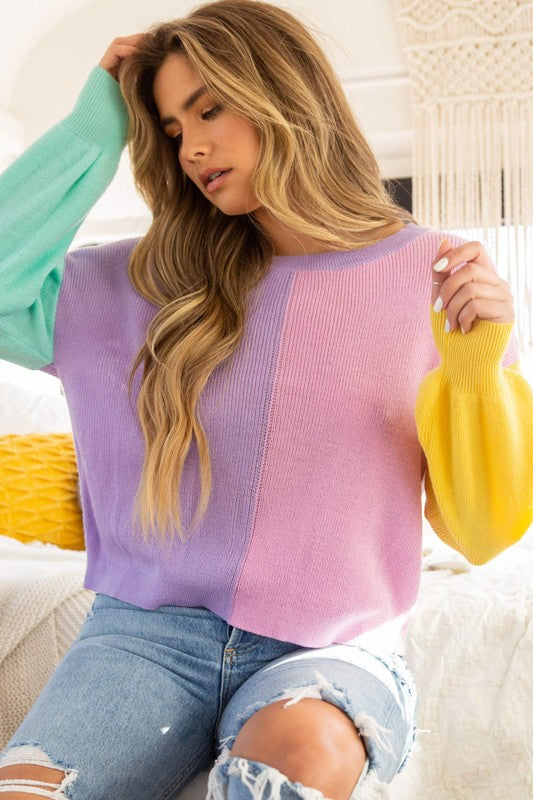 Color Block Cropped Sweater Lavender/Pink