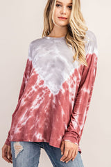 Buy Jersey Tie Dye Tunic Top Grey/Brick online at Southern Fashion Boutique Bliss